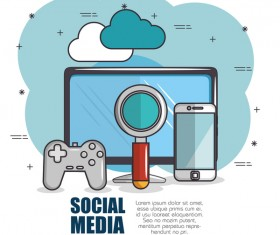 Social media with network vectors template 07