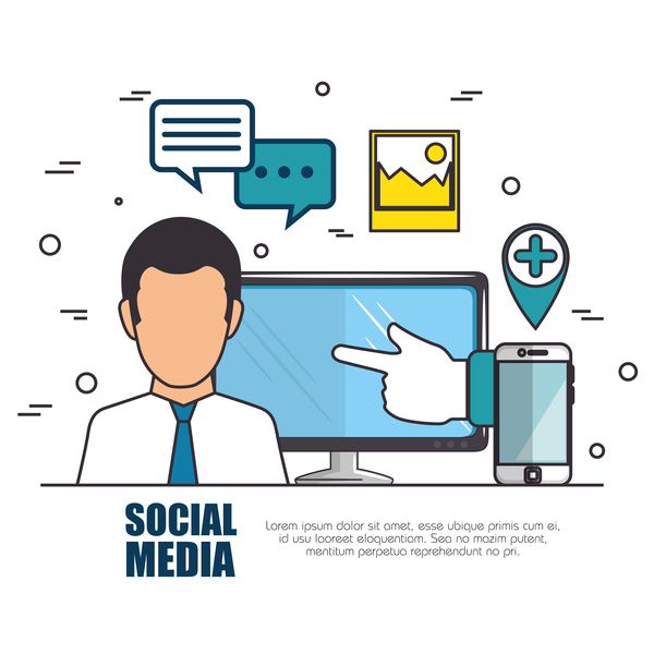 Social media with network vectors template 08