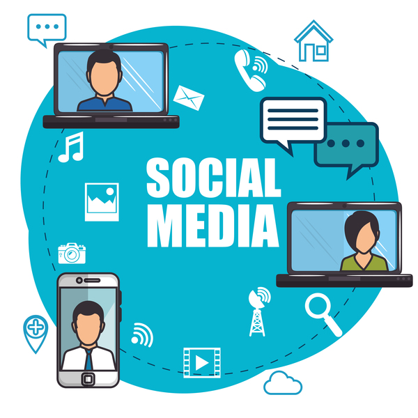 Social media with network vectors template 09