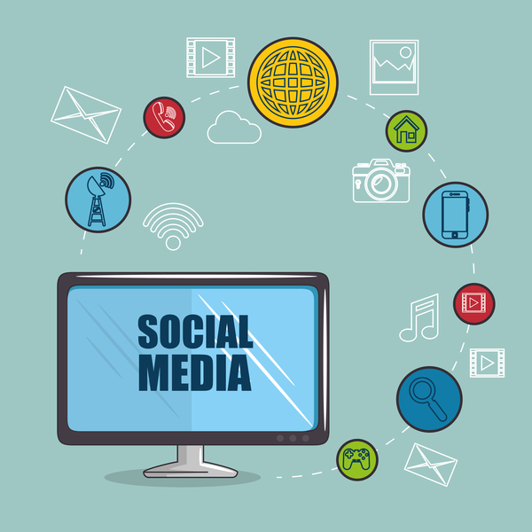 Social media with network vectors template 10