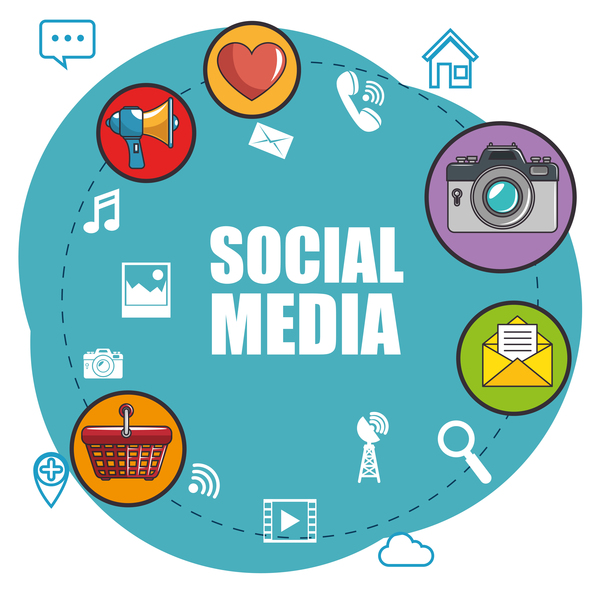 Social media with network vectors template 11
