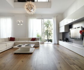 Spacious and bright living room with TV wall HD picture