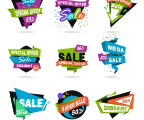 Special offer sale labels colored vector