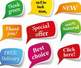 Speech bubbles sticker vector