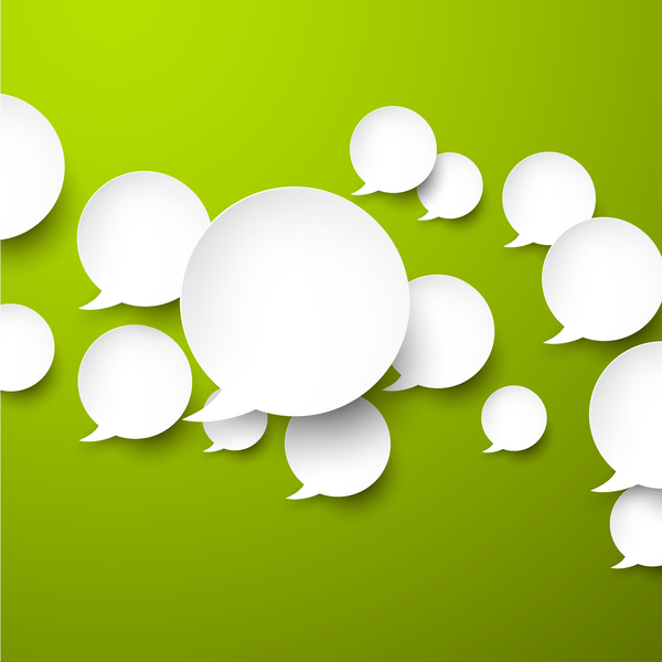 Speech bubbles with green background vector