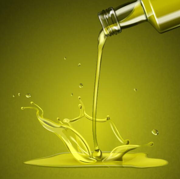Splashing olive oil vector background