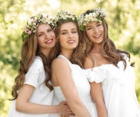 Stock Photo Wearing wreaths young women 04