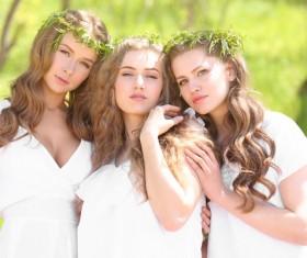 Stock Photo Wearing wreaths young women 06