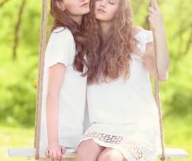 Stock Photo Wearing wreaths young women 12