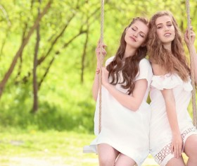 Stock Photo Wearing wreaths young women 13