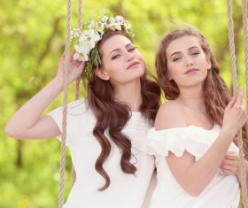 Stock Photo Wearing wreaths young women 16