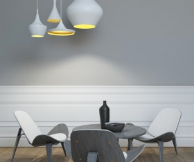 Stylish interior chandeliers with table chairs Stock Photo