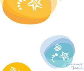 Summer beach hand drawn logo design vector