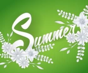 Summer green background with flower vector
