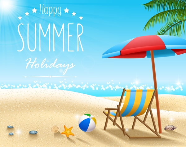Happy Summer Holidays Background Vector: Summer Holiday Travel Background Design Vectors Free Download