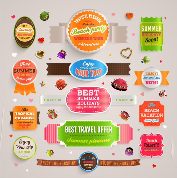 Summer party labels design vector
