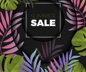 Summer sale background with palm vector