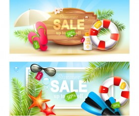 Summer sale banners horizontal background vector