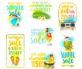 Summer sale elements set vector