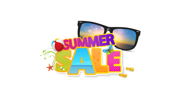 Summer sale logo with sunglasses vector 01