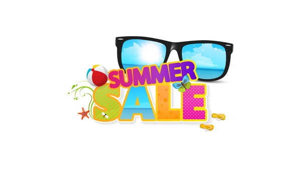 Summer sale logo with sunglasses vector 02