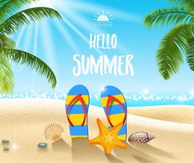 Summer travel background with slippers vectors
