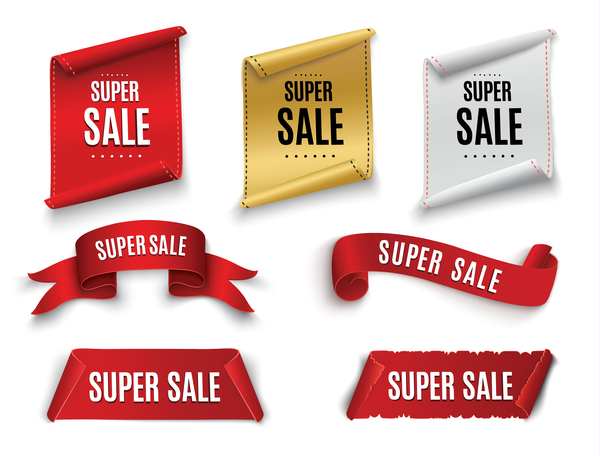 Super sale banner with ribbon vectors