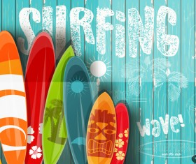 Surfing board with wooden background vector