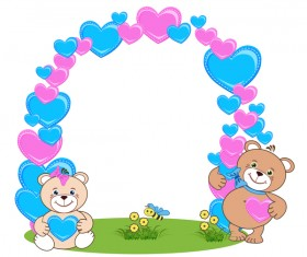 Teddy bear with heart frame cartoon vector 01