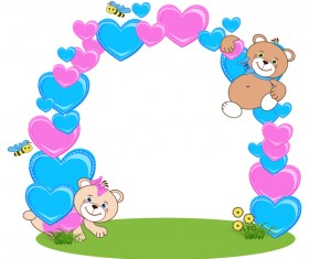 Teddy bear with heart frame cartoon vector 02