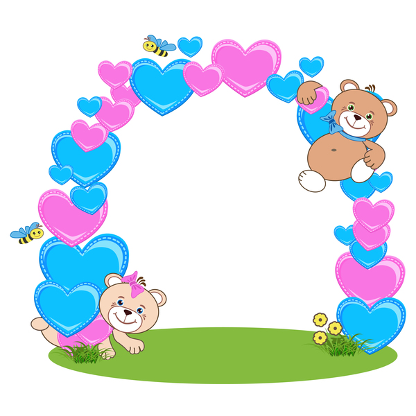 Teddy bear with heart frame cartoon vector 02 free download