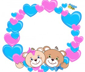 Teddy bear with heart frame cartoon vector 03