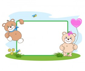 Teddy bear with heart frame cartoon vector 05
