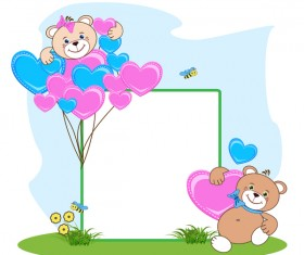 Teddy bear with heart frame cartoon vector 06