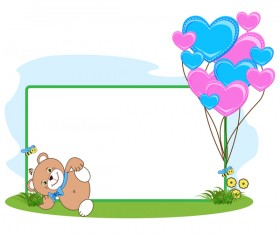 Teddy bear with heart frame cartoon vector 07