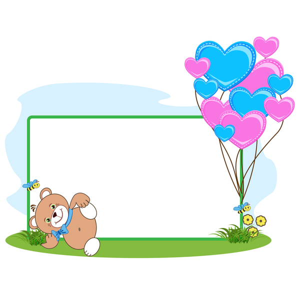 Teddy bear with heart frame cartoon vector 07 free download