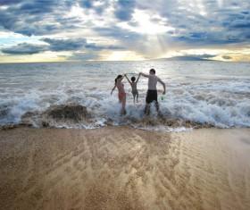 The beach happy family Stock Photo