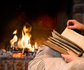 The fireplace reading Stock Photo