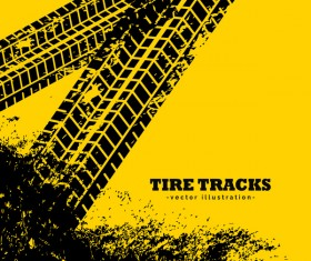 Tire traces with yellow background vector