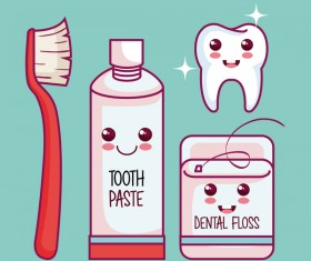 Tooth paste with dental floss and toothbrush cartoon vector