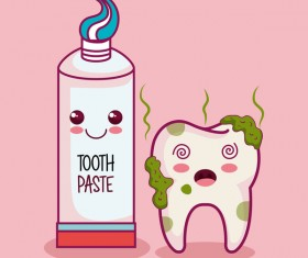 Tooth paste with tooth decay cartoon vector