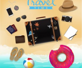 Travel template with trolley case vector 01