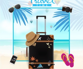 Travel template with trolley case vector 03