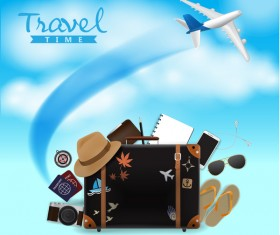 Travel template with trolley case vector 04
