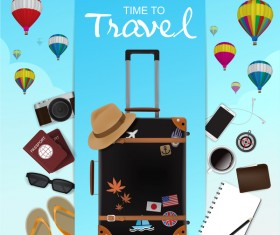 Travel template with trolley case vector 05