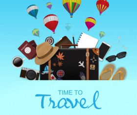 Travel template with trolley case vector 06