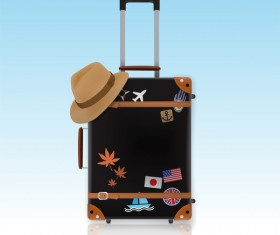 Travel template with trolley case vector 07