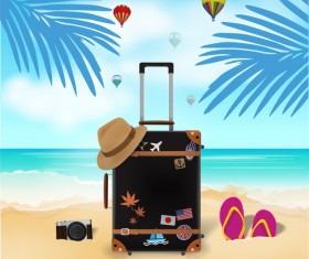 Travel template with trolley case vector 08