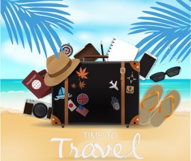 Travel template with trolley case vector 09
