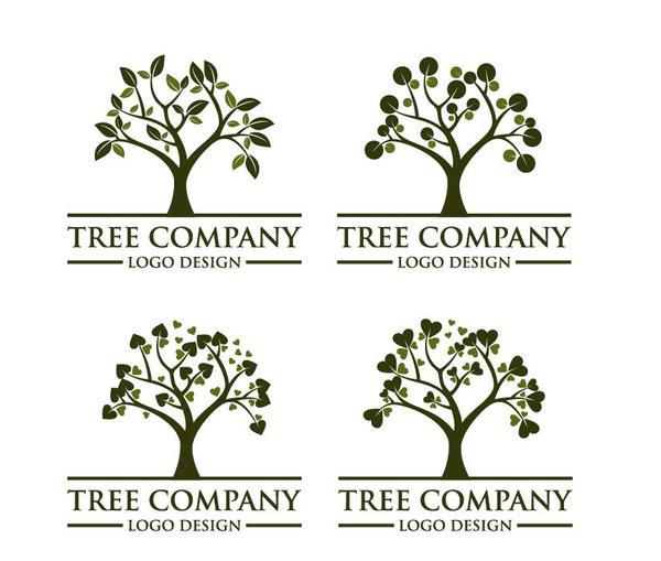 Tree company logos design vector